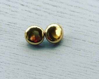 Gold faux leather earrings