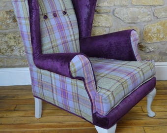 Vintage reupholstered armchair, restyled wing back chair