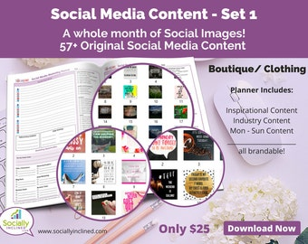 Social Media Content for Clothing/Boutique (SET 1) -- 57+ original images with blank planner pages, checklists, tasks, and goals