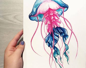 "ORIGINAL WATERCOLOUR \ ""Stinger"" A4 Jellyfish Painting"