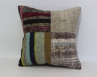 20x20 Uniquer Patchwork Pillow 20x20 Cotton Pillow Boho Cushion Cover Chic Pillow Bed Pillow Turkish Pillow Anatolian Pillow SP5050-1087