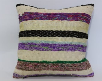 Bohemian Kilim Pillow Throw Pillow 20x20 Bohemian Kilim Pillow Fllor Pillow Handwoven Kilim Pillow Cushion Cover SP5050-1405