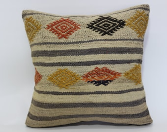 Decorative Kilim Pillow Throw Pillow 20x20 Turkish Kilim Pillow Naturel Pillow Organic Pillow Sofa Pillow Cushion Cover SP5050-1429
