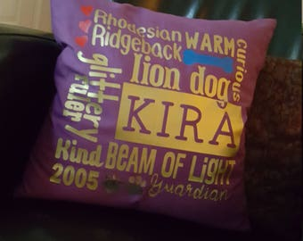 Pet Memory, Celebration Pillow, Fur-Baby, Dogs, Puppies, Cats, Horses. Made from your material.