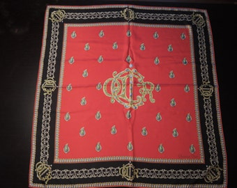 "Vintage Authentic Christian Dior Large Red Black Jewelry Motif Silk 34"" Scarf"