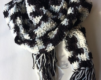 Super long black white and blue grey scarf with fringe