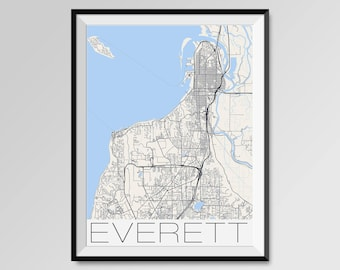 EVERETT Washington Map, Everett City Map Print, Everett Map Poster, Everett Wall Map Art, Everett gift, Custom city maps, Washington map