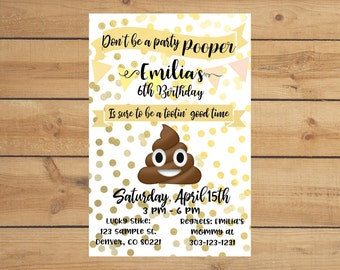Poop emoji party invitation! - Pink/Yellow, Blue, or Green