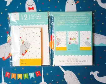 Narwhal Birthday Gift Tag Set - 3 Designs