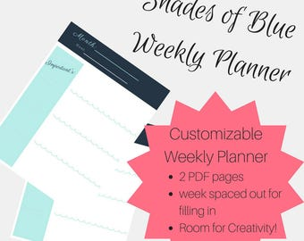 Weekly Planner | Customizable | Printable | Mon-Sun
