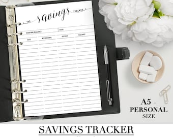 Printable SAVINGS TRACKER insert for your Personal A5 and Letter size planners__BUDGET inserts_Money planner sheet Filofax_pdf