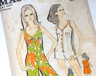 1960s Maudella Playsuit Uncut Sewing Pattern No. 5514 Modern Size 14