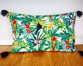 Rectangular decorative pillow cover - Exotik Birds