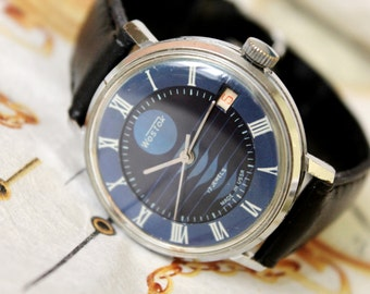 Vintage Men's Watch WOSTOK, Wostok watch 1980's 17 jewels, Rare Diаl, Dress watch, Мens Wrist Watch, Soviet Watch, USSR Watch, Leather Watch