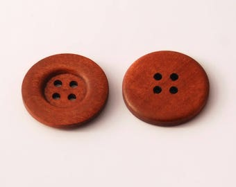 10 Large Reddish Brown Wood Buttons, 35mm (1 3/8 Inch), 4 Holes - Wooden Buttons, Set of 10 (RB3503)