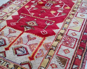 SHOW PİECE !!!Turkish Rugs,Oushak Rug, Vintage Rugs,Primitive Pastel Color Rugs,Shaabby Chic rug Bohemian Rugs