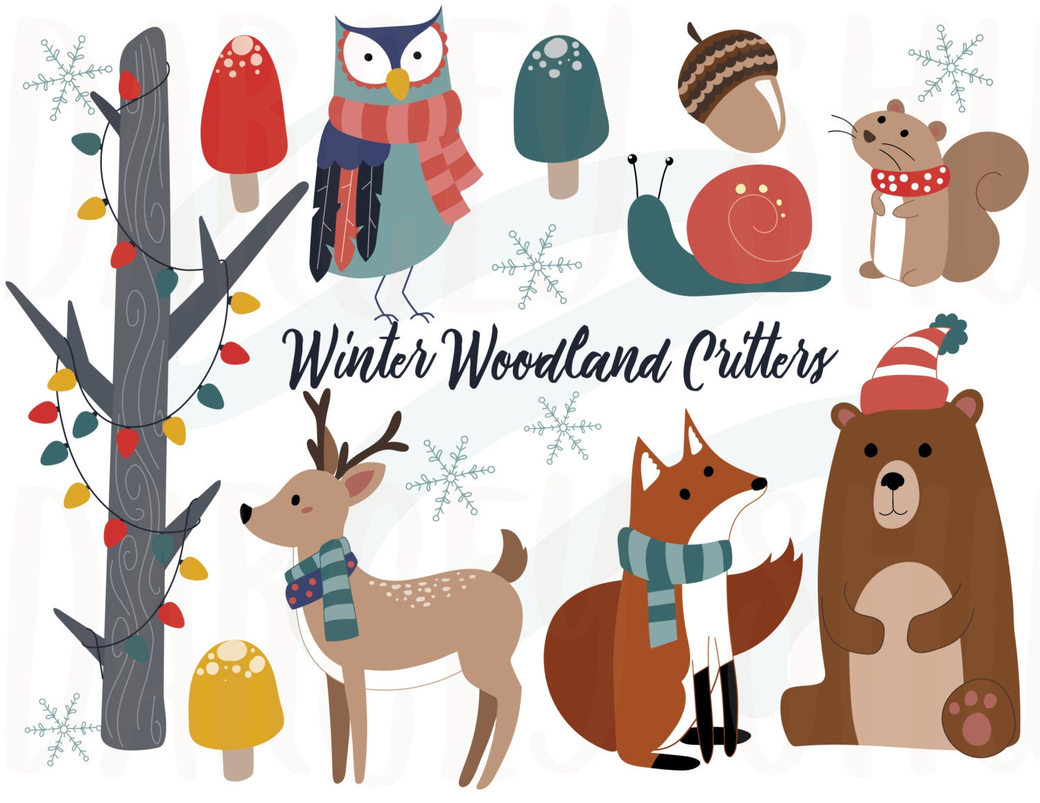Winter Woodland Critters Clipart Winter Animals Christmas