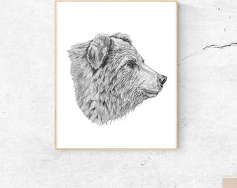 Bear Print, Bear Art, Bear Wall Art, Bear Art Print, Bear Decor, Brown Bear, Grizzly Bear Art, Bear Wall Decor, Boy Nursery, Bear Poster