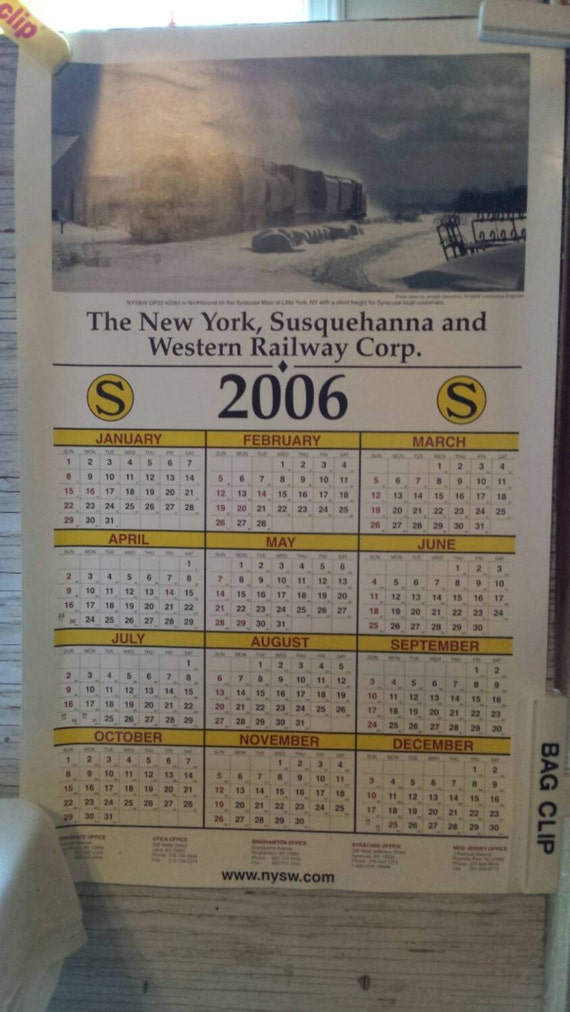 Vintage 2006 Railroadiana. A 2006  Adv. Calendar from the NYS&W RY Corp.  Shows a Comp. train at Little Fork, NY. Perfect Clean No Damage