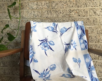 "Blue Floral Vintage Tablecloth 46"" x 48"""