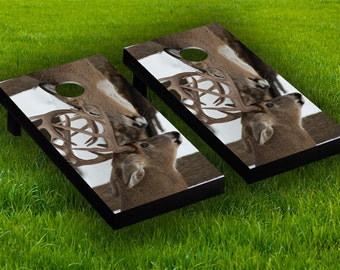 deer family cornhole board wraps laminated sticker set skin decal - Cornhole Board Wraps