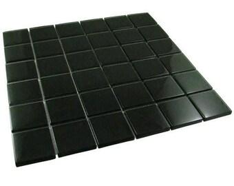 2 Inch Black Mosaic Glass Tiles