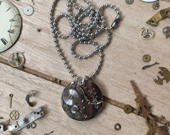 Mechanical round movement combined with a ball chain necklace - nickelfree - steampunk jewelry - made by: Handmade by Charlie