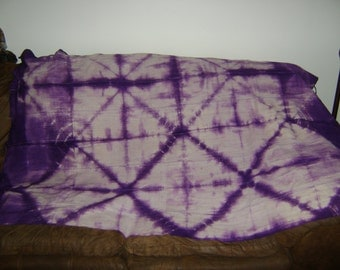 African Mudcloth Purple Tie-Dyed Throw  Textile