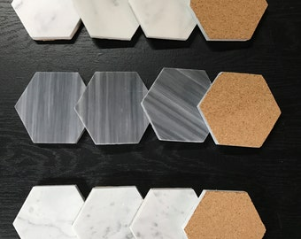Natural Stone Real Italian Marble Hexagonal Coasters with Cork Backing - Set of 6