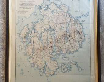 Rare 1896 Topography Map of Mt. Desert Island, Maine