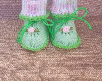 Green and Pink baby booties, Handmade handmade shoes Infant/Baby Take Home Outfit one of a kind art Handmade newborn hospital gift cozy