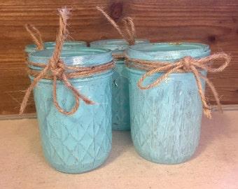 Bathroom Jars/ Hand Painted Jars/ Bathroom Supplies/ Mason Jars/ Vanity Jars/ Bathroom Organization