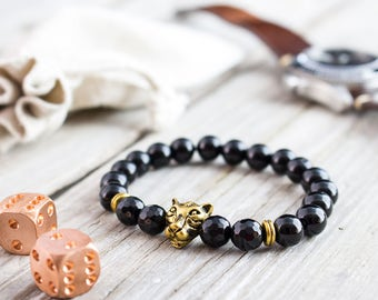 8mm - Black onyx beaded gold Leopard head stretchy bracelet with faceted onyx beads, yoga bracelet, mens bracelet, womens bracelet