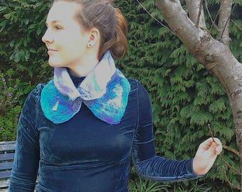Scarf - collar- neck warmer felted merino wool with Harris Tweed