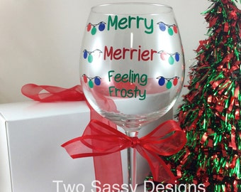 Feeling Frosty Holiday Wine Glass, Funny Christmas Wine Glass, Christmas Wine Glass, Holiday Wine Glass, Christmas Gift, Holiday Gift
