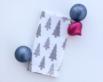 Christmas Tree Cloth Napkins - Grey and White Fabric Napkin - Holiday - Gifts For Her - Hostess Gift - Christmas Decor - One Napkin