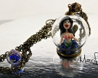 Mermaid charm Necklace, glass globe pendant, miniature mermaid necklace, clay mermaid, terrarium globe, mermaid necklace, mermaid diorama