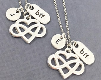 Set of 2 - Bff Jewelry, Best Friend Necklace, Friend Charm, Best Friends, Charm Necklaces, Forever, Friendship Pendant, BFF Jewelry