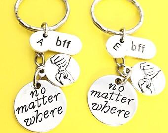 2 Custom bff keychain, promise bff keychain, bff promise charm, initial charm, initial keychain, personalized, Birthday gift for best friend