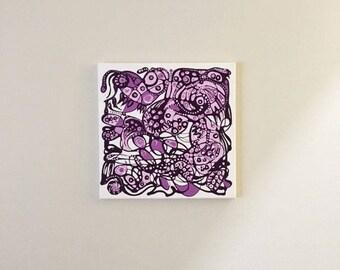 Abstract Purple Light Dark Acrylic Painting
