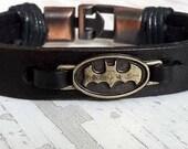 Batman Leather Bracelet, Handmade Leather Bracelet, Men's Birthday Gift, Boyfriend, Husband Gift Idea , Fathers Day Gift, Handmade Gift Idea