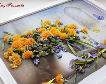 Ribbon embroidered Dandelions,Wild Spring Flowers, Embroidered Spring