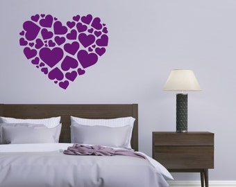 Love Hearts wall decal - vinyl sticker with 25 colours to choose from