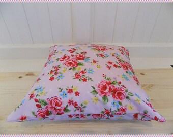 cushion by chookeys pink flower design