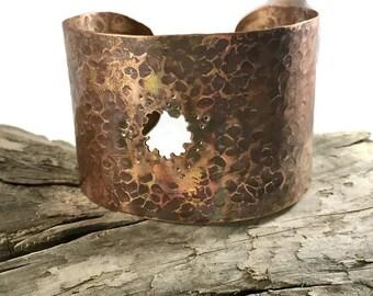 Wide Rustic Copper Cuff
