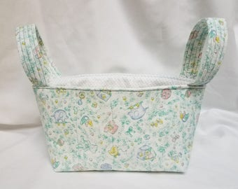 Nursery Print Quilted Fabric Bin/Basket Diaper Caddy