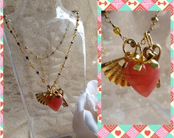 Hearts & Gold pendant necklace
