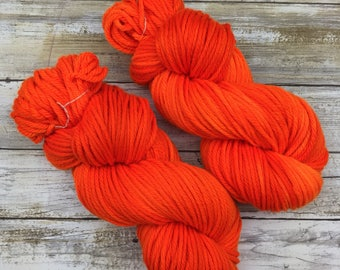 Frothy Bulky Weight | Hand Dyed Yarn | Superwash Merino Wool | 100 g. | Safety Orange