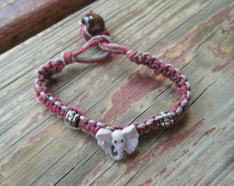 Elephant Macrame friendship bracelet maroon gray beaded tribal