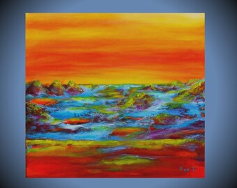Red painting mens personalized gift brother gifts Landscape painting canvas wall art boys room decor red yellow sunset art abstract decor